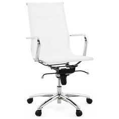 Fauteuil de bureau blanc design et confortable. http://techneb.com/shop/fr/fauteuils-de-bureau/3125-fauteuil-de-bureau-soft46-54-reglable-en-textile-blanc.html #fauteuil #bureau #blanc #confort #maison #intérieur #techneb