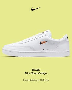 The Nike Court Vintage Premium embodies' 80s tennis at its best—laid-back and stylish. The smooth leather upper is combined with micro-branding for a relaxed look and feel, while the cushioned sockliner provides smooth comfort with every step. Premium Upper The upper is made from soft, durable leather for a clean look. Vintage Nike Graphic The heritage Nike design logo is proudly featured on the outside of the upper and on the tongue label. Time-Tested Traction A rubber outsole with hobna… Nike Design, Vintage Nike, Architect Logo, Best Brand, Smooth Leather, Tennis, Sneakers, Time Tested, Elegant