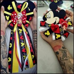 Mickey and Minnie Mouse mums for baby shower. For you and him! (: