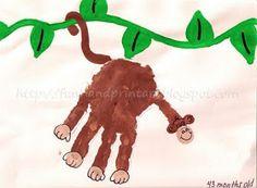 Fun Handprint and Footprint Art : Handprint Monkey on a Vine