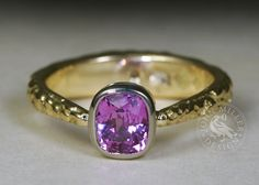 'Fuschia Moon', an yellow gold fused ring, tapering to a pink sapphire set in an white gold bezel. Unseen in this photo, there is also a E.VS Hearts and Arrows diamond set in the back of the band! John Miller, Thing 1, Pink Sapphire, Arrows, Handcrafted Jewelry, Gemstone Rings, Artisan, White Gold, Hearts