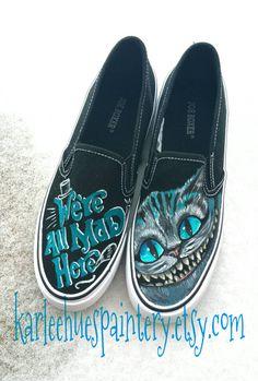 Alice in Wonderland Hand Painted Shoes Made by KarleeHuesPaintery