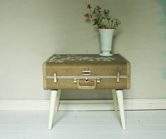 Champagne and Cream Suitcase Side Table  Vintage by RusticDuck, $65.00