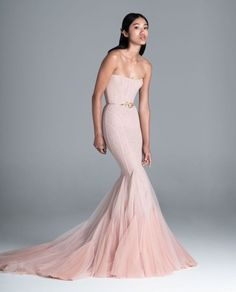 Colored light pink mermaid wedding dress for your reception with trumpet skirt and strapless neckline | Spring 2020 Wedding Dresses by Paolo Sebastian - Perfete Princess Wedding Dresses, Colored Wedding Dresses, Modest Wedding Dresses, Boho Wedding Dress, Mermaid Wedding, Wedding Updo, Dior Haute Couture, Valentino Wedding Dress, Ball Dresses