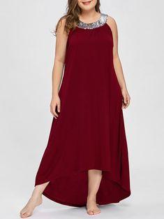 Sequins Collar Plus Size Sleeveless Maxi Dress
