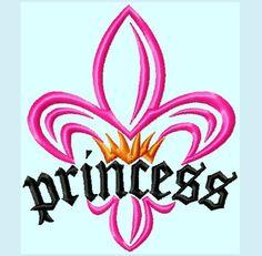 Fleur De Lis Princess Crown Embroidery Designs    INSTANT DOWNLOAD