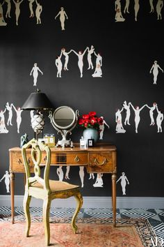 Wallpaper by illustrator Costanza Theodoli-Braschi adds a sense of humor to Elson's new boudoir | archdigest.com