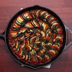 Ratatouille Recipe by Tasty Low Carb Vegetarian Recipes, Delicious Vegan Recipes, Diet Recipes, Cooking Recipes, Healthy Recipes, Cooking Kale, Yellow Squash And Zucchini, Vegan Coleslaw, Spring Recipes