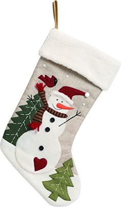 Felt Applique Snowman Christmas Stocking with Fleece Cuff gives any mantel or fireplace that vintage homemade vibe at the holidays. Quilted Christmas Stockings, Xmas Stockings, Burlap Christmas, Christmas Sewing, Christmas Snowman, Christmas Projects, Christmas Ornaments, Diy Christmas Stocking Pattern, Christmas Tables