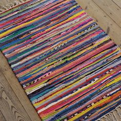 Fab Hand Made Stripy Rainbow colour COTTON Rag Rug Recycled