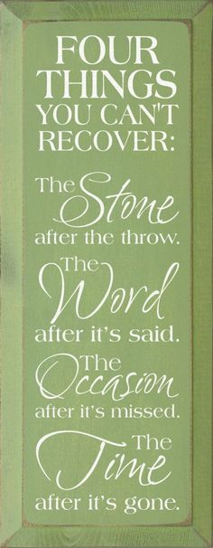 #Words #quote # wisodom  Four things you can't recover; stone after its thrown, Word after its spoken, occasion after its past and time after its gone - Live each day to the fullest!
