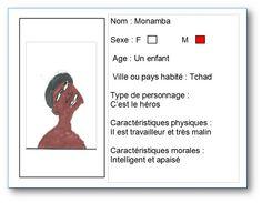 Carte d'identité réalisé à partir du livre Le secret de Monamba de Zaradoza Marcel par Emmanuel. Pour voir la notice du livre, cliquer sur mon dessin.