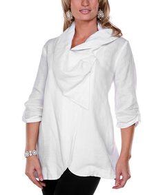 Another great find on #zulily! White Drape Collar Linen Jacket - Women & Plus #zulilyfinds