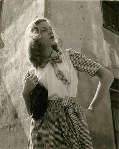 "kafkasapartment: "" Lauren Bacall, 1943. Louise Dahl-Wolfe. Silver gelatin print…"