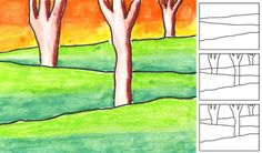 landscape art lessons for kids. maybe indoor recess activity to hang around the classroom for next year
