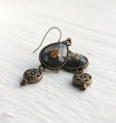 Chambray+Blue+and+Antique+Gold+Teardrop+Dangle+by+belleonabudget,+$8.00