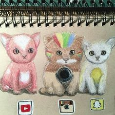 I want them all - Lupo*-* - Cat Drawing App Drawings, Cool Art Drawings, Cute Animal Drawings, Art Sketches, Person Drawing, Cat Drawing, Social Media Art, Cute Disney Drawings, Medium Art