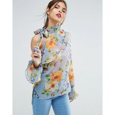 ASOS Floral Blouse with One Shoulder and Tie Neck ($55) ❤ liked on Polyvore featuring tops, blouses, multi, floral print blouse, party blouses, floral blouses, floral necktie and shiny blouse