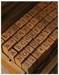 Powstro 70Pcs Vintage Wooden Rubber Letter Number Stamp Set Capital Upper Lower Case for Kids Alphabet Stamps Dark Wooden