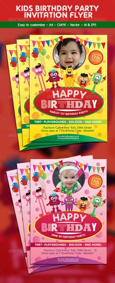 Kids Birthday Invitation Flyer template Template and Party flyer