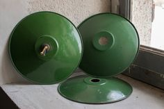 French Enamelware Lighting // 1940 Industrial Lamp Shades // Set of 3 Green…
