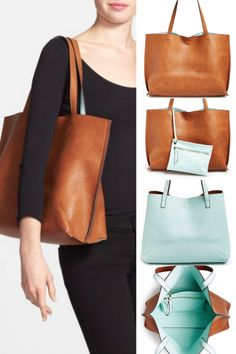 Weekend Steals & Deals | Reversible Vegan Leather Tote & Wristlet $48 (other color combos)
