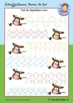 Schrijfpatroon koe, kleuteridee, kleuters, writing pattern cow theme Kindergarten. Preschool Writing, Preschool Worksheets, Craft Activities For Kids, Kindergarten Activities, Childhood Education, Kids Education, Farm Theme, Pre Writing, Home Schooling