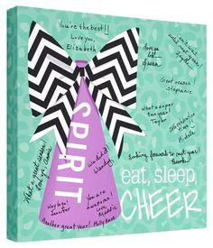 Cheerleader Signature Canvas Keepsake - entire squad can sign Football Cheer, Cheer Camp, Cheer Coaches, Cheer Dance, Varsity Cheer, Football Season, Football Shirts, Soccer Gifts, Cheer Gifts