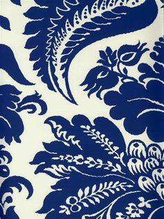 Selenio Damask Wallpaper | Blue & White Wallcoverings | AmericanBlinds.com