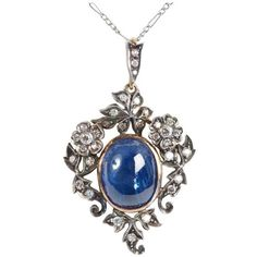 Preowned 19th Century Sapphire Diamond Gold Pendant ($4,281) ❤ liked on Polyvore featuring jewelry, pendants, blue, blue pendant, sapphire diamond pendant, flower pendant, gold diamond pendant and blue sapphire pendant