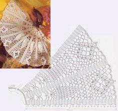 Crochet fan ♥LCF-MRS♥ with diagram ---- Patron Crochet Abanico - Patrones… Crochet Skirt Pattern, Crochet Diagram, Crochet Chart, Thread Crochet, Filet Crochet, Crochet Motif, Crochet Doilies, Crochet Stitches, Doily Patterns