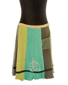 Upcycled, recycled, appliqué green t-shirt skirt with bicycles