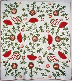 """Cockscomb, Rose Tree & Pineapple Quilt, c. 1840, cotton, plain weave, appliqued with cotton, backed with cotton plain weave; 85.5"""" x 76-7/8""""; Art Institute of Chicago"""