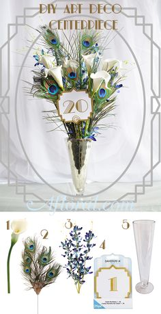 Art Deco Wedding Centerpiece with peacock feathers calla lily and mini orchid spray.   Make your own art deco centerpiece!