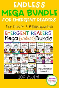 This is our mega collection of Emergent Readers for Kindergarten This ENDLESS bundle will also include any future emergent readers. This set contains over 100 books that are perfect for early learners. Each book focuses on a specific letter, word family, color, number word, theme, or nursery rhyme. They are great for classroom books, guided reading groups, homeschooling, and more! Guided Reading Groups, Reading Centers, Reading Strategies, Kindergarten Reading Activities, Kindergarten Teachers, Literacy Activities, Literacy Skills, Literacy Centers, Circle Time Activities