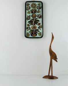 Vintage Handmade Wall Plate, Foliage Boho Wall Plate.
