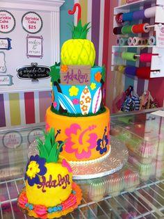 Hawaiin Pineapple Surfing Girly Birthday Cake and Smash Cake www.LeahsSweetTreats.com