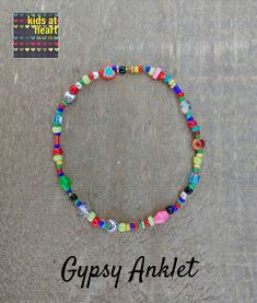 Colorful summer gypsy anklet - each one is unique. Beaded Anklets, Beaded Bracelets, Hanging Beads, Ankle Chain, Simple Bracelets, Anklet Bracelet, Bead Shop, Heart For Kids