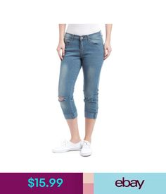 Jeans Nwt Junior Stretch Denim Knee Cut Capri Jeans Roll Up Bottom Size 3-15 25782 #ebay #Fashion