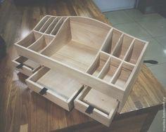 деревянный органайзер для косметики