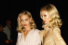 sasha & natasha. red lips & blonde hair. So 50's