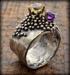 Tangibilitas Ring: Sterling silver Citrine Amethyst