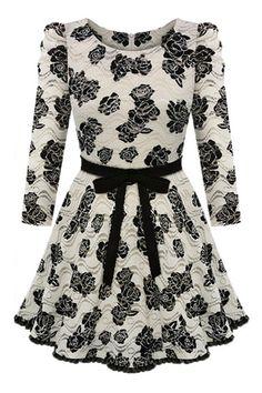 #ROMWE | Rose Print Lace Dress, The Latest Street Fashion