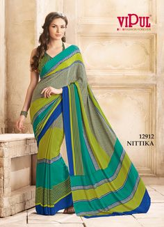 94a26f8394 Shades Of Green Color Crepe Casual Wear Sarees : Urvi Collection