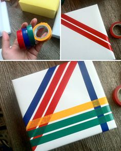 DIY Gift Wrapping with : Color Blocking Tape Tapas, Pretty Packaging, Gift Packaging, Craft Gifts, Diy Gifts, Colored Tape, Beautiful Home Designs, Creative Activities, Creative Gifts