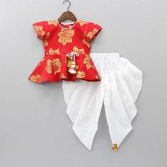 Red Peplum Top With White Dhoti Red Peplum Tops, Kids Ethnic Wear, Kids Gown, Kids Suits, Tutus For Girls, White Image, Indian Wear, Kids Wear, Baby