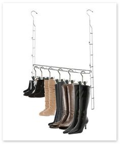 Double closet space instantly! Crammed clothing and lack of hanging space are no longer an issue. Our Closet Doubler Boot Hanger Storage System provides an additional layer of hanging space in closets