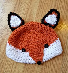 Fox Hat - free baby to adult crochet pattern by To Craft A Home. Crochet Hats For Boys, Crochet Baby Hats, Crochet Headbands, Crocheted Hats, Crochet Gifts, Knitting Patterns, Crochet Patterns, Hat Patterns, Loom Knitting