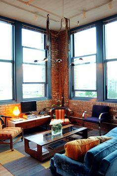 Arthur & Kristin's Sunny Vintage Loft House Tour | Apartment Therapy
