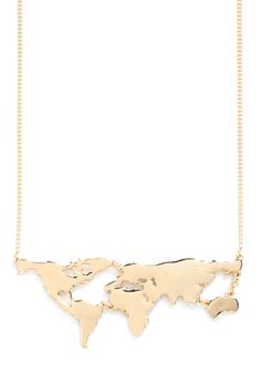 There's a Map for That Necklace in Gold. There are maps for displaying in your sophisticated study, maps for exploring new cities and scenery, and, now, theres even a map for wearing as a snazzy statement necklace! #gold #modcloth